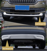 For SKODA KODIAQ 2017 2018 2019 Front+Rear Bumper Diffuser Guard skid plate High Quality Stainless Steel Car Accessorie
