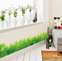 * 3D Fresh green grass baseboard PVC Wall Stickers Skirting kids living Room bedroom Bathroom Kitchen nursery balcony home decor
