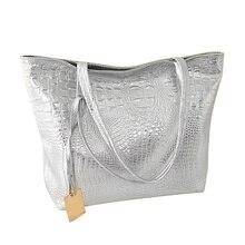 b63676f08c Women Zipper Casual Soft Alligator Artificial PU Shoulder Bag Bucket  Crocodile Glossy Large Capacity Tote Shopping