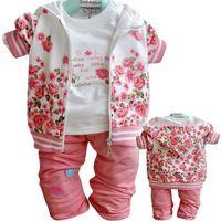 ניו סתיו אביב בנות ילדי חליפות ספורט אימונית סווטשירט רוכסן בגדי ילדי 3 יחידות Suits1-3T פרחוני הלבשה סטי מכנסיים