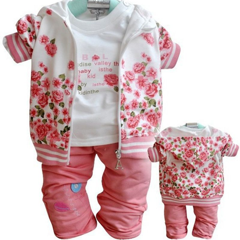 New Autumn Spring Tracksuit Girls Sports Suits Kids Clothes Zipper Sweatshirt Pant 3pcs Suits1-3T Children Floral Clothing Sets 1 6y new arrival boy clothing set kids sports suit children tracksuit girls tshirt pant baby sweatshirt character casual clothes