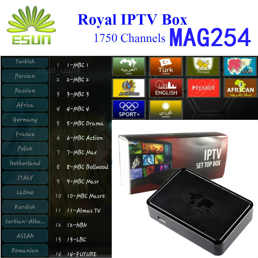 MAG254 Royal IPTV Box Linux System With 2300+ Arabic Europe IPTV French Netherlands Portugal Linux 2.6.23 STiH207 Set top box