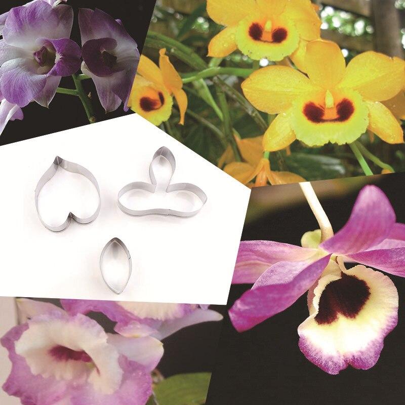 3 шт./компл. Орхидея Дендробиум лепесток цветка украшения выпечки инструмент Нержавеющаясталь формочка для печенья