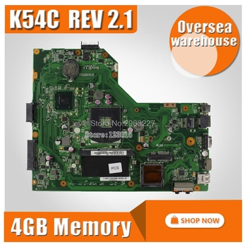 SAMXINNO For ASUS K54C X54C X54H X54HR K54LY K54HR PGA989 Laptop motherboard Mainboard test 100% OK  With 4G RAM