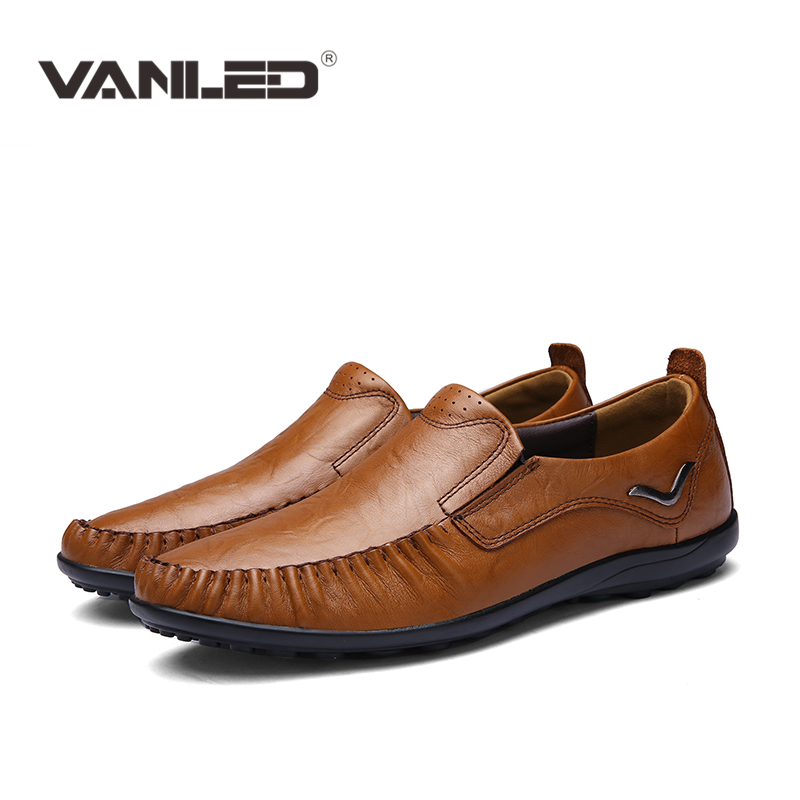 2017 Genuine leather Men Shoes Casual outdoor breathable loafers Comfy Driving shoes Big Size High Quality,Handmade men flats