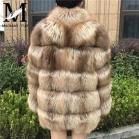 Новое высокое качество натуральное лисьее пальто с длинным рукавом теплое зимнее натуральное меховое пальто большой меховой воротник-стой...