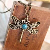 Vintage Libelle Anhänger Halskette, mode Aus Naturstein 70 cm Lange Halsketten für Frauen Neckless Christian Geschenk