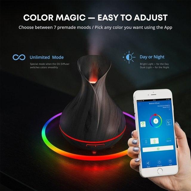 Intelligente Wifi Wireless Aromaterapia Olio Essenziale Diffusore con Alexa Google App di Controllo Vocale 400ml Diffusore Ad Ultrasuoni Umidificatore