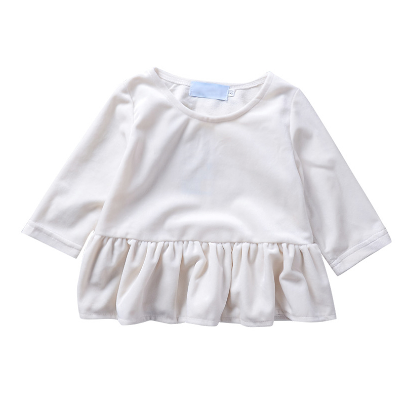2018 Summer Cute Baby Girls Dresses Solid White Ruched Mini Kleding Bebe Kids Clothes