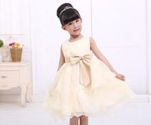 Девочка vestido де феста кор-бесплатная champanhe com decote vestidos сем манга арко novia-принцеса ребенок театрализованное платье для 2 — 9 anos meninas