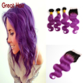 Лучший 7A ломбер бразильские волосы с закрытием 3 связки с закрытием 8 - 28 дюймов aliexpress великобритании # 1B / purple мелирование волос волна волос