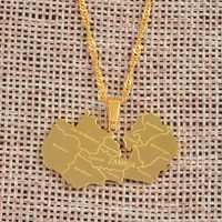 Anniyo Karte von Sambia Mit Stadt Anhänger Halsketten für Frauen Mädchen Edelstahl Sambischen Karten Ketten Gold Farbe Modell #071221