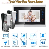 7 Inch Doorbell Camera Video Door Phone Monitor Intercom System Kit Night Vision 1200 TVL Recording