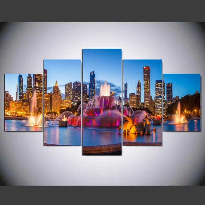 DAFENJINGMO ARTES 5 Paneles Modern Chicago Nightscape Ciudad Lienzo ...