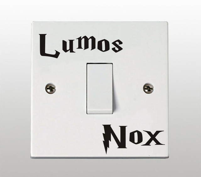 harry potter lumos nox lichtschalter aufkleber. Black Bedroom Furniture Sets. Home Design Ideas