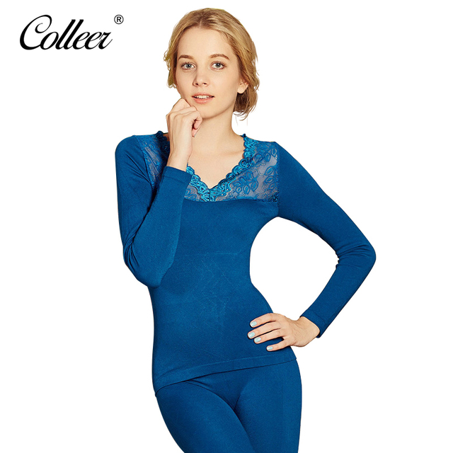 5e771d355b3 COLLEER 2017 thick Cashmere Women Thermal Underwears sexy Slim warm Winter  Warm Long Johns Ladies Seamless Antibacterial suit