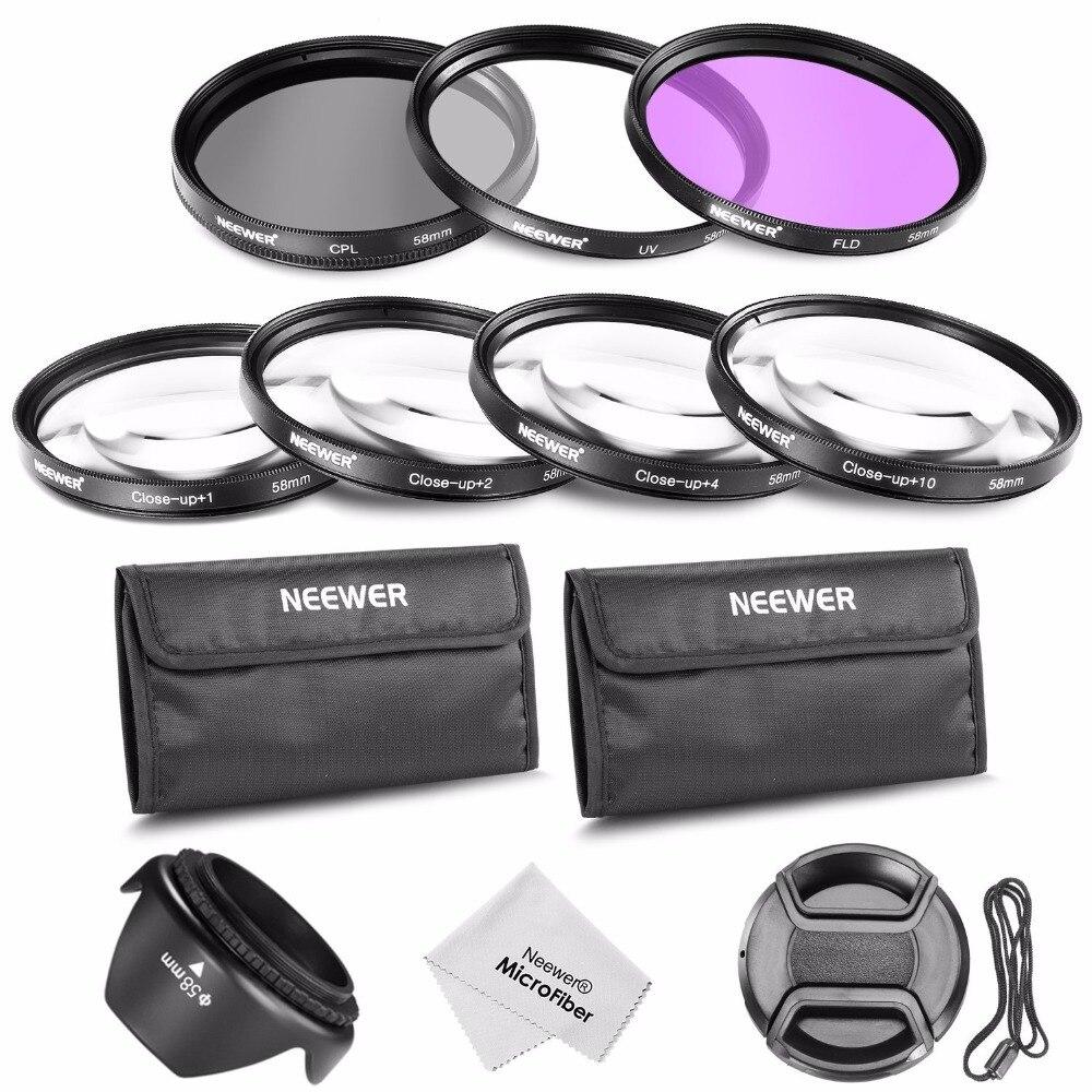 Neower 58MM 프로페셔널 렌즈 필터 UV + CPL + FLD 및 근접 매크로 CANON EOS 700D 650D 600D 용 +1 +2 +4 +10 액세서리 키트