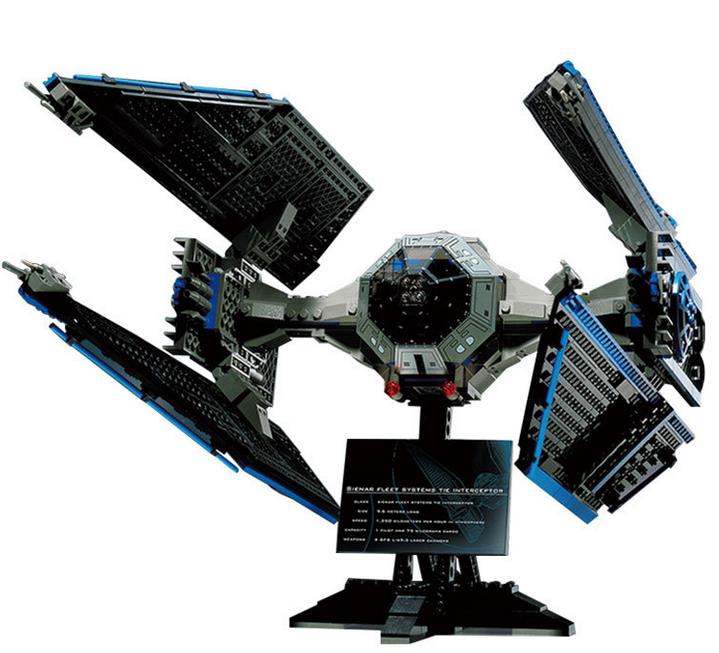 New 05044 703Pcs Star Space Wars UCS TIE Interceptor Model Building Kit Block Bricks Compatible 7181 Standard brick size Toys конструктор lepin star plan истребитель tie interceptor 703 дет 05044