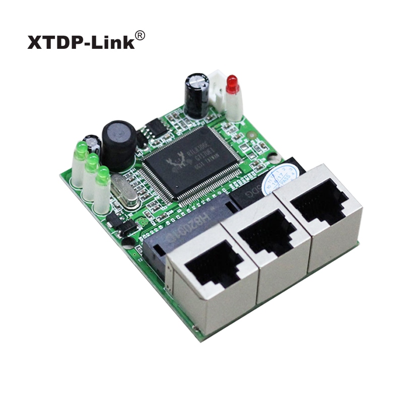 shenzhen manufacturer company direct sell Realtek chip RTL8306E mini 10/100mbps rj45 lan hub 3 port ethernet switch pcb board