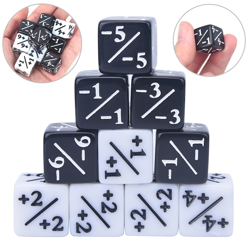 High Quality 10x Dice Counters 5 Positive +1/+1 & 5 Negative -1/-1 For Magic The Gathering Table Game Funny Dices