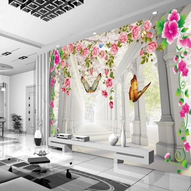 Behang voor muren 3 d Mooie Romantische Vlinder bloemen Bruiloft ...