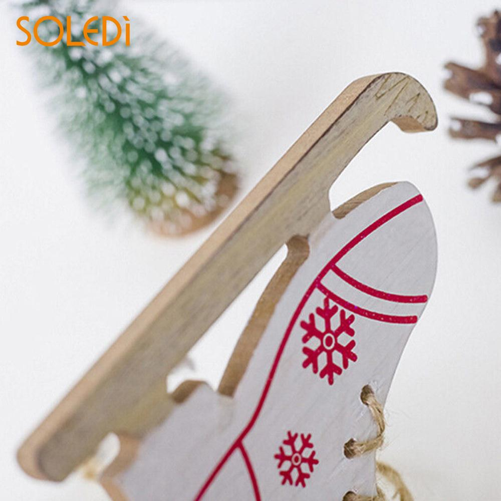 Diamond Unique Xmas Tree Ornament Wooden Christmas Day Decoration Creative Christmas Skates Pendant Winter Ski Shoes Pendant Door