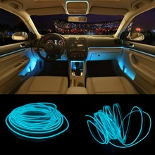 JURUS New 5Meters RED Car Interior Lighting For Auto LED Strip Garland EL Wire Rope Tube Line Flexible Neon Light With 12V Drive