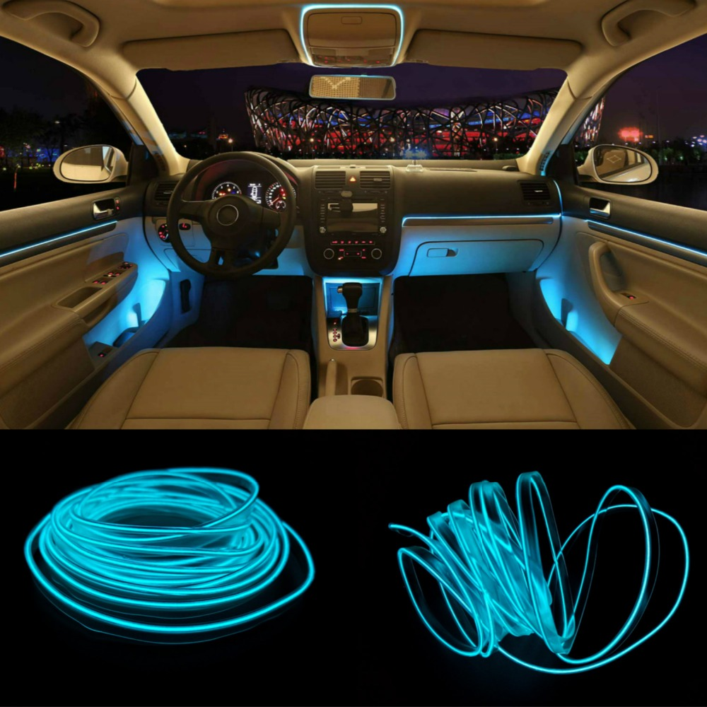 JURUS New 5Meters RED Car Interior LED Lights For Auto Strip Garland EL Wire Rope Tube Line Flexible Neon Light With 12V Drive image
