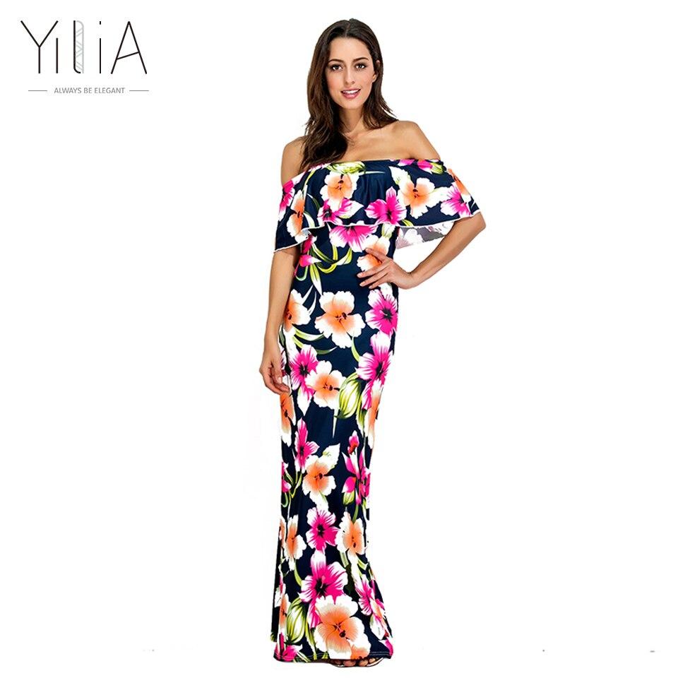 Yilia 2017 New Sexy Spring Summer Off Shoulder Floral Print Maxi Long Dress Ruffle Boho Women Elegant Casual Beach Party Dresses
