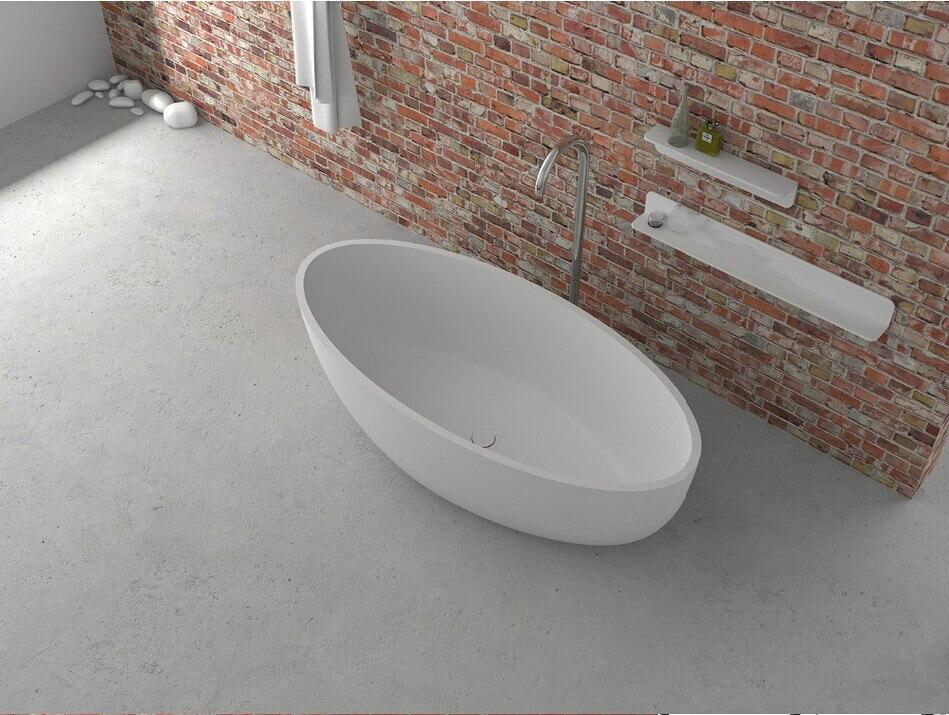 1700x800x480mm Solid Surface Stone CUPC Approval Bathtub Oval Freestanding Corian Matt Or Glossy Finishing Tub RS6589
