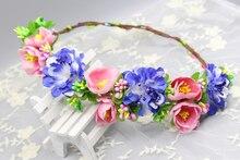Fashion Flower Headpiece Wedding Bridal Hair Accessories Floral Crown Bohemia sapphire color wreath
