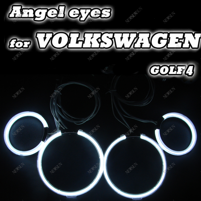 CCFL Angel Eyes Kit for VW GOLF4 Super Bright with 4 ccfl angel rings and 2 inverters eyes headlight halo ring kit