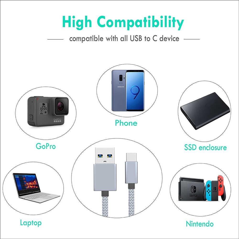 Byleen نوع C شقة شاحن سريع 1 متر 25 سنتيمتر خط قصير لهواوي P20 ماتي 10 لايت LG G6 H870 LGM-G600 K L S LG Q8 V30 + V20 Q6 G5