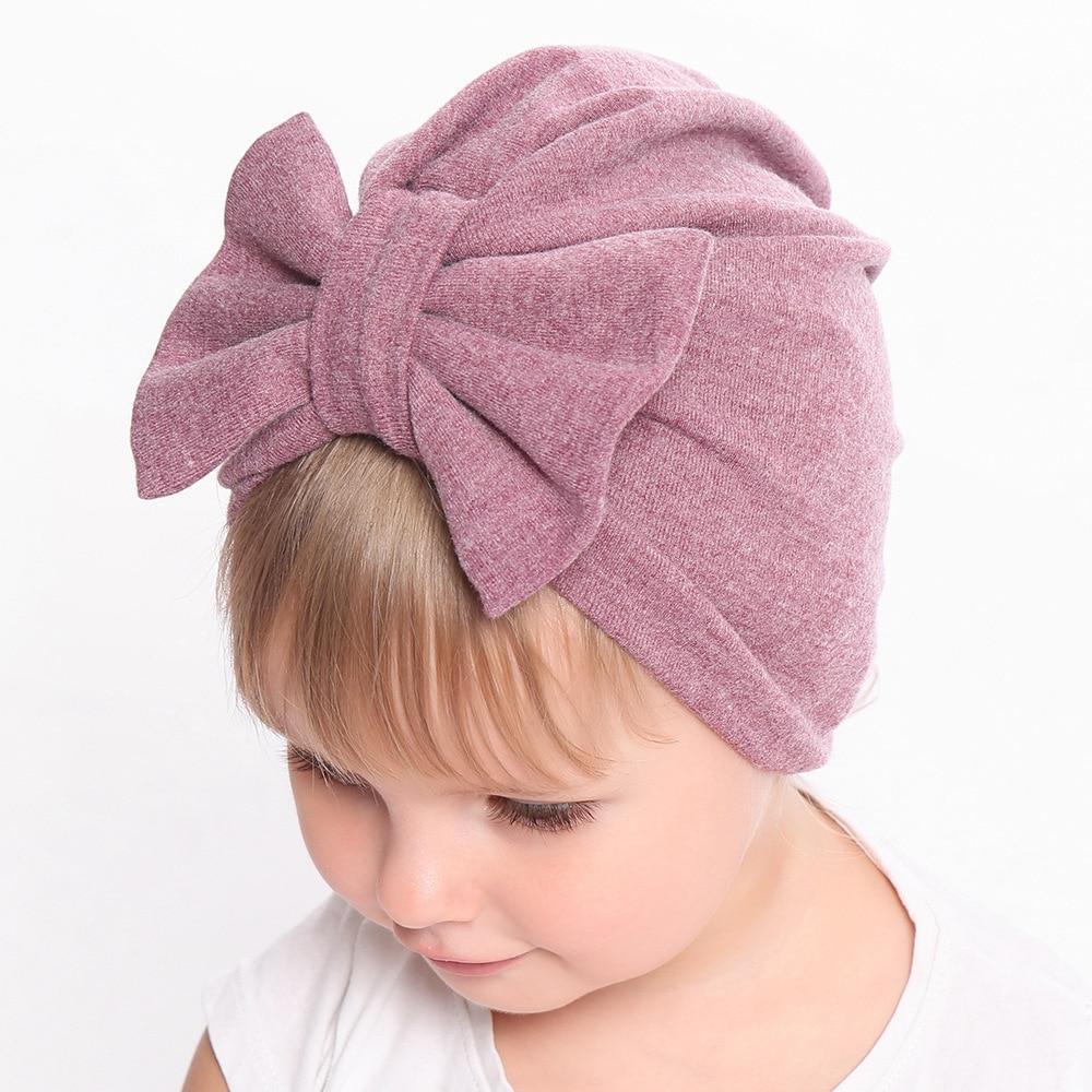 Baby Kids Girls Cute Bowknot Stretchy Turban Nylon Headband Hair Band Headwrap