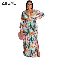 6d3832583076 Floral Print Summer Plus Size Dress 2019 Women Deep V Neck Full Sleeve Maxi  Dress Vintage