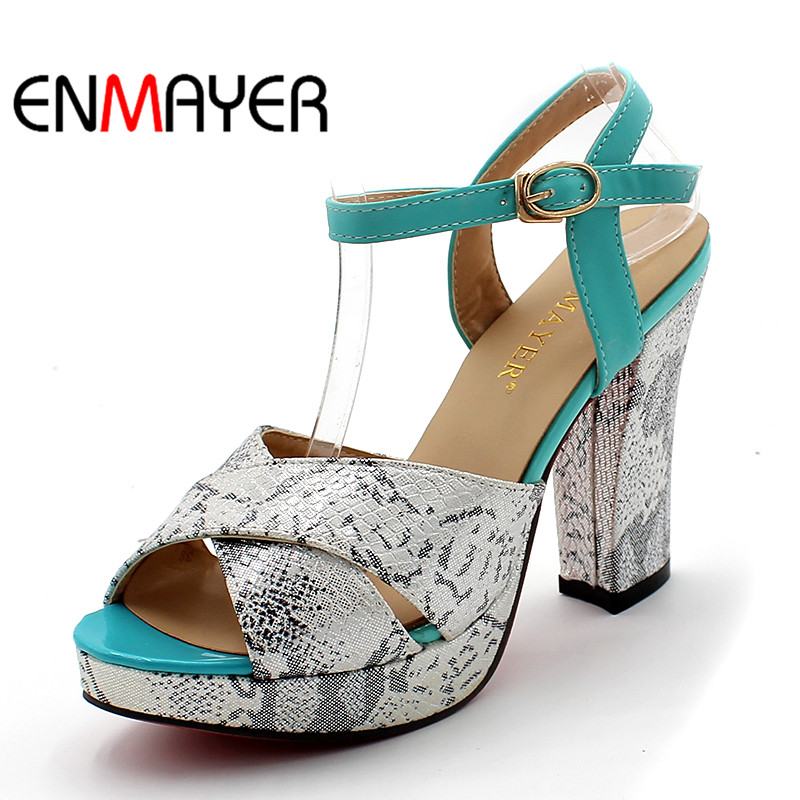 ENMAYER Summer Women Sandals Soft Leather High Heels Fashion Pump Shoes Woman Buckle Strap Shoes Wedges Platform Pumps Big Size woman fashion high heels sandals women genuine leather buckle summer shoes brand new wedges casual platform sandal gold silver
