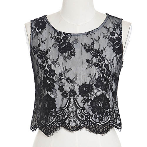 7fae4f31b7 New Women Fashion Design Sweet O Neck Print Embroidery Back Zipper  Sleeveless Short Black Lace Blouse Shirt Tops FreeShipping!-in Blouses &  Shirts from ...