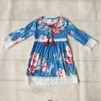 Fashion Kids Dress Spring Fall Baby Girls Soft Cotton Blue Floral Dress Kintted Ruffle Long Sleeve