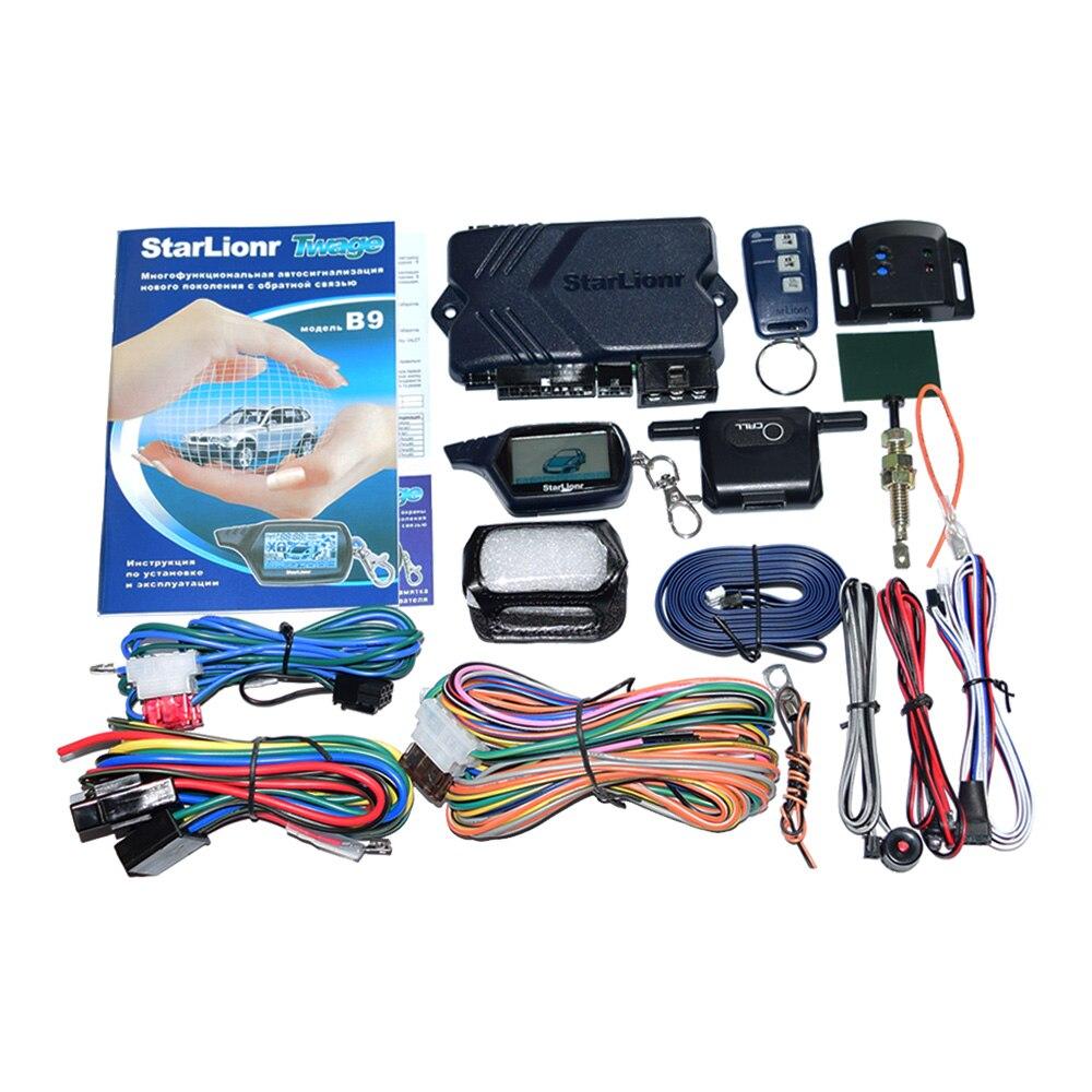 Russische Version Zwei Weg Auto Alarm System B9 Remote Motor Starten mit LCD Fob Keychain 2-Way Auto Sicherheit anti-Diebstahl Gerät B9