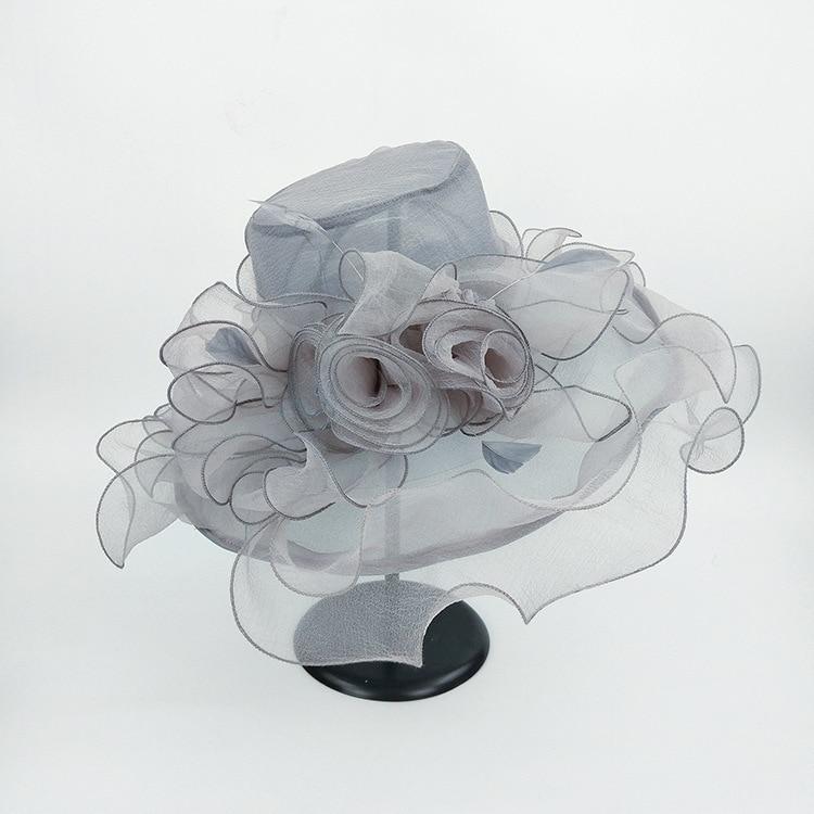 Image 3 - Женская шляпа из органзы с большим цветком и перьями, свадебная Кепка для леди Кентукки, Кепка в стиле Дерби, женская летняя широкая шляпа от солнца-in Женские шляпы солнца from Аксессуары для одежды on AliExpress - 11.11_Double 11_Singles' Day