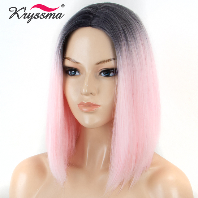 Short Bob Wig Pink Wig Ombre Dark Roots to Baby Pink Straight Synthetic Wigs  for Women 25305451a5