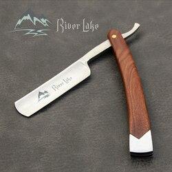 Rio lago navalha reta dobrável faca de barbear profissional homens manual barba barbeador aço inoxidável borda reta barbeiro