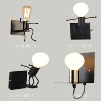 Modern Cartoon Doll Wall Light Fixtures LED Creative Mounted Iron Bedside Sconce Lamp For Kids Baby