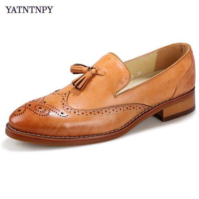 5e476c640f9b73 YATNTNPY Nouvelle Marque À La Mode Bloc sculpté gland Hommes chaussures En  Cuir Chaussures Homme bout