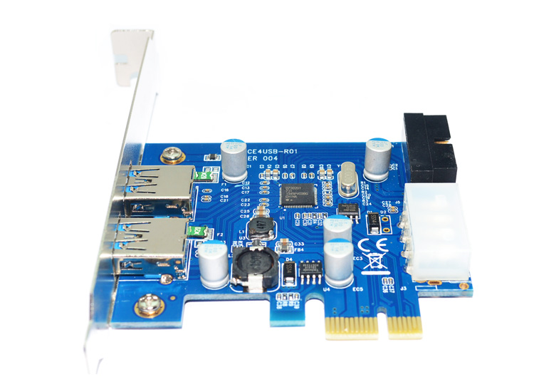 PCI-E to USB 3.0 2 Port 5V 2A PCI Express Expansion Card 19-Pin Power Connector
