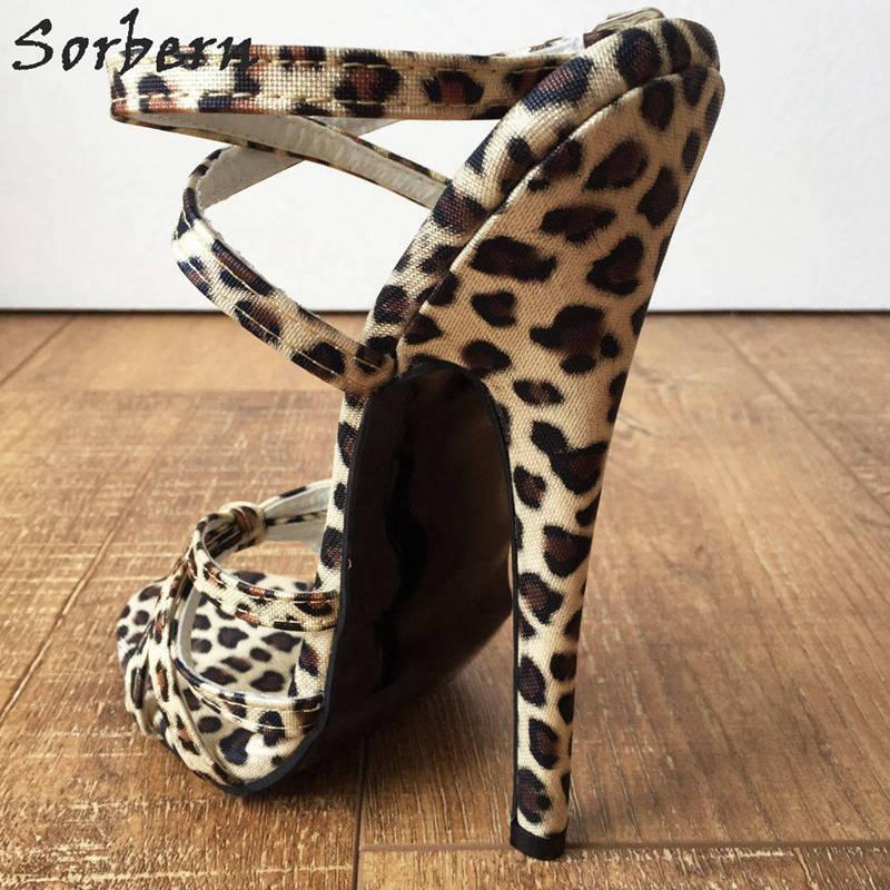 Leopard Sorbern Sandales De Cheville Léopard Taille 18 Sangle Croix Haut Femmes Color Cm Imprimé custom Chaussures Spike Mode Talon Slingback 11 qpYpUA