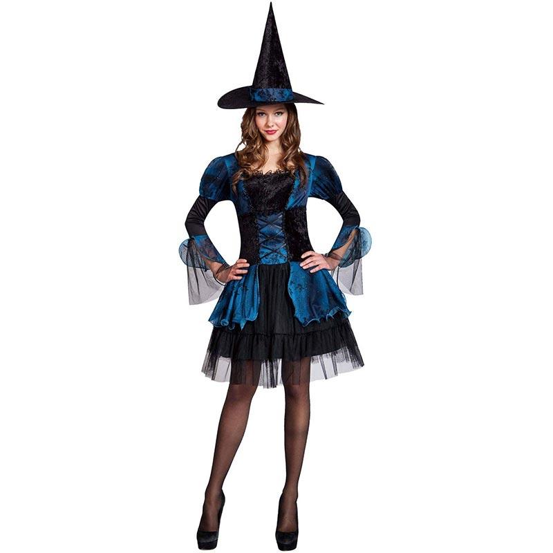 Biru Gothic Penyihir Dewasa Halloween Kostum L15535