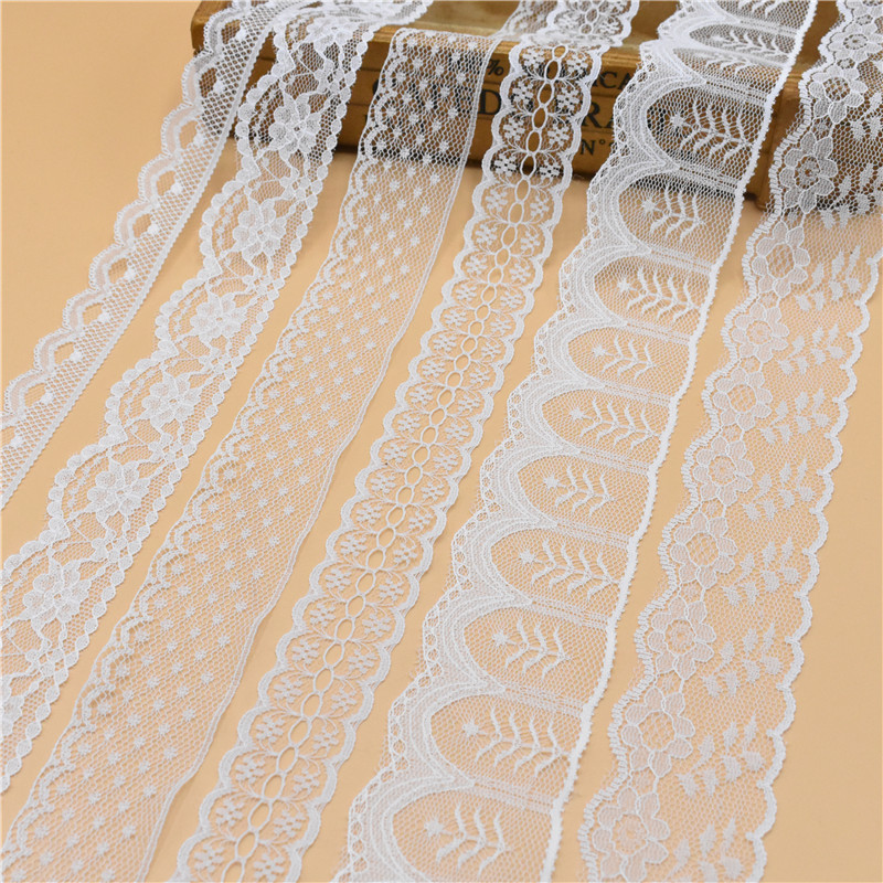 Beautiful 10 Yards White Lace Ribbon Wide french african lace fabric lace trimmings for sewing accessories Embroidered Clothing lace trim embroidered smock top
