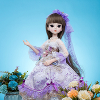 Princess anna 1/3 60CM bjd/sd doll 18 joint flexible With clothes Dress Wigs Shose Hat Makeup Dream Girls Toys