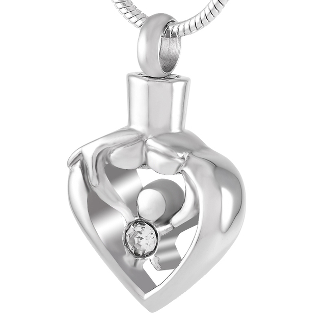 Ijd9211 Mom Dad Child In Heart Cremation Urn Pendant For Ash Unique Design Stainless Steel Jewelry Necklace Fanily